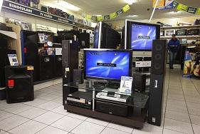 Cash crusader TV and audio store display