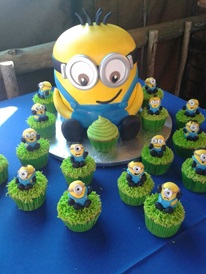 Monkey Magic Minion themed party with cake and cupcakes