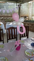Monkey Magic pink and white themed event