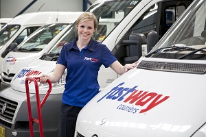Fastway Courier lady and Van