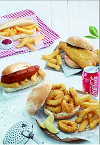 Fish & Chips Co. calamari and russian hotdog