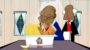Cartoon of Jacob Zuma eating fish & chips