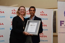 Newcomer of the Year finalist Genevieve Allen of Sherpa Kids with Rasheed Kathrada