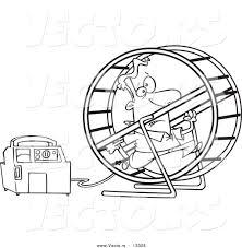Man running on wheel for generator  - cartoon